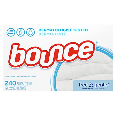 Bounce Fabric Softener Dryer Sheets Free & Gentle - 240 Count
