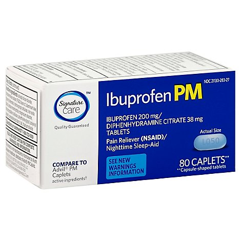 Signature Care Ibuprofen Pain Reliever PM 200mg NSAID Sleep Aid Caplet Blue - 80 Count