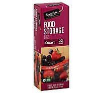 Signature SELECT Bags Storage Single Slide Quart BPA Free - 22 Count