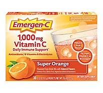 Emergen-C Super Orange Dietary Supplement Fizzy Drink Mix with 1000mg Vitamin C - 30-0.32 Oz.
