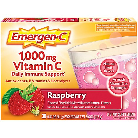 Emergen-C Raspberry Dietary Supplement Fizzy Drink Mix with 1000mg Vitamin C - 30-0.32 Oz.