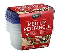 Signature SELECT/Home Containers Storage Medium 3 Cups Tight Seal BPA Free - 5 Count