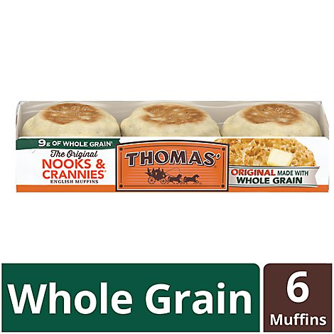 Thomas Nooks & Crannies English Muffins Original Whole Grain 6 Count - 12 Oz