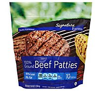 Signature Farms Beef Ground Beef Patties 91% Lean 9% Fat 10 Count - 40 Oz