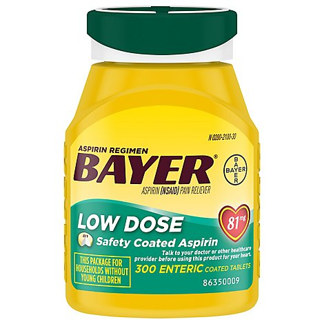 Bayer Aspirin Tablets 81mg Low Dose Enteric Coated - 300 Count