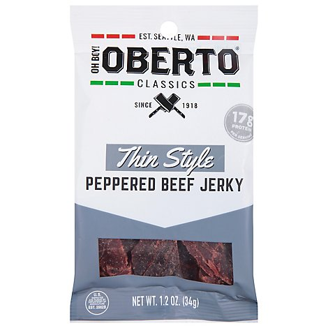 Oberto Beef Jerky Thin Style Peppered - 1.2 Oz