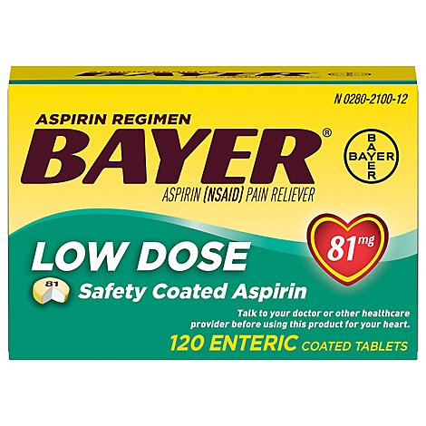Bayer Aspirin Tablets 81mg Low Dose Enteric Coated - 120 Count