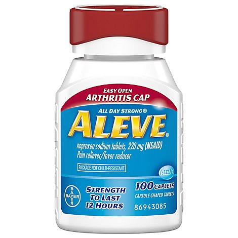 Aleve Naproxen Sodium Tablets 220mg Pain Reliever Fever Reducer Easy Open Cap - 100 Count