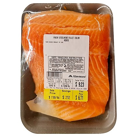 Seafood Service Counter Fish Steelhead Fillet Farmed Fresh - 1.00 LB