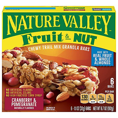 Nature Valley Granola Bars Chewy Trail Mix Fruit & Nut Cranberry & Pomegranate - 6-1.1 Oz