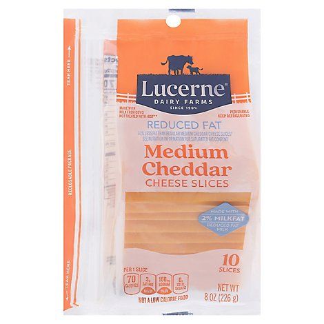 Lucerne Cheese Natural Sliced Medium Cheddar Reduced Fat 2% - 8 Oz