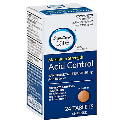 Signature Care Ranitidine USP 150mg Maximum Strength Acid Reducer Tablet - 24 Count