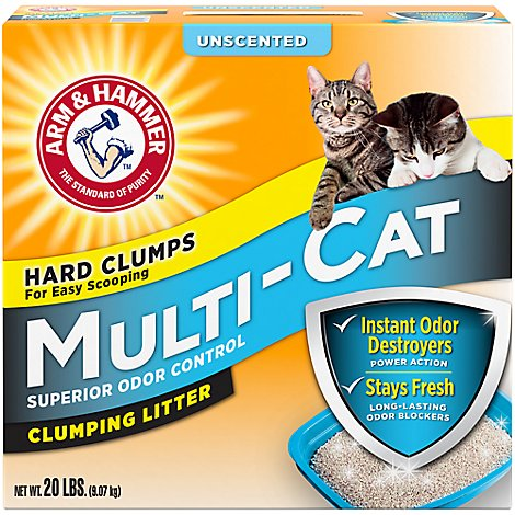 ARM & HAMMER Cat Litter Clumping Multi Cat Strength Unscented - 20 Lb