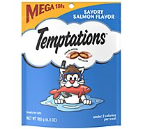 TEMPTATIONS Classic Cat Treats Crunchy And Soft Savory Salmon Flavor - 6.3 Oz