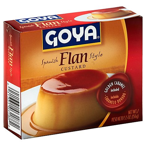 Goya Flan Custard Spanish Style Golden Caramel Included Box - 5.5 Oz