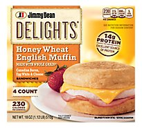Jimmy Dean Delights Canadian Bacon Egg White & Cheese English Muffin Sandwiches 4 Count