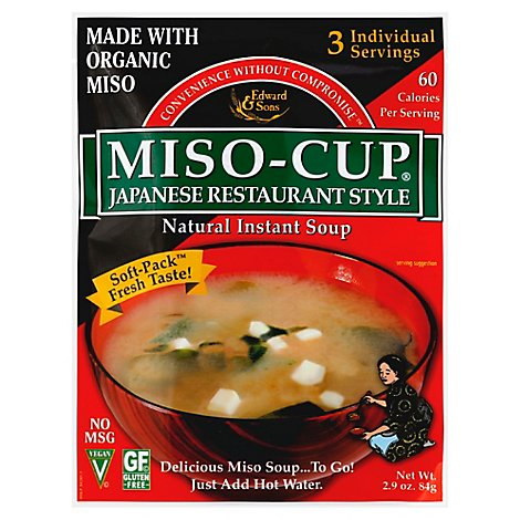 Edward & Sons Miso-Cup Soup Organic Japanese Retaurant Style - 2.9 Oz