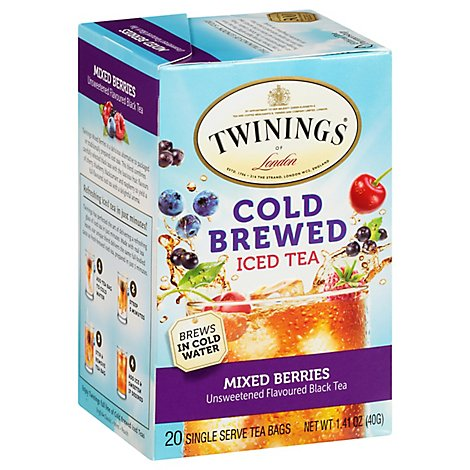 Twinings Tea Black Iced Unsweetened Cold Brew Mixed Berries - 20 Count