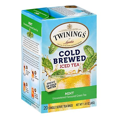 Twinings Tea Green Flavoured Unsweetened Iced Cold Brew Mint - 20 Count