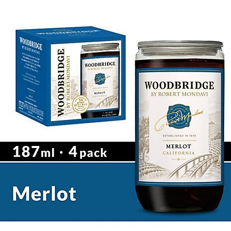 Woodbridge by Robert Mondavi Wine Merlot Red Bottles - 4-187 Ml