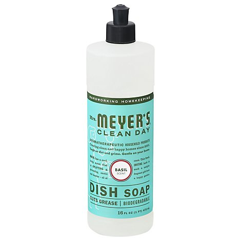 Mrs. Meyers Clean Day Liquid Dish Soap Basil Scent 16 ounce bottle