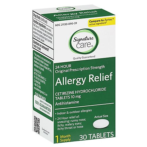 Signature Care Allergy Relief Cetirizine Hydrochloride 10mg Antihistamine Tablet - 30 Count