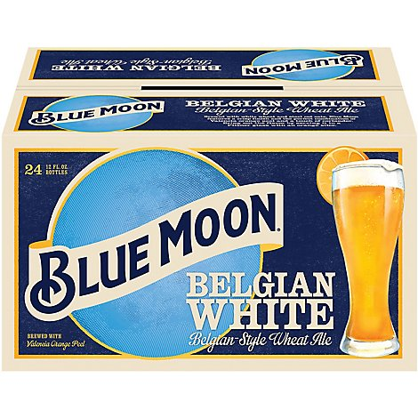 Blue Moon Belgian White Beer Craft Wheat 5.4% ABV Bottle - 24-12 Fl. Oz.