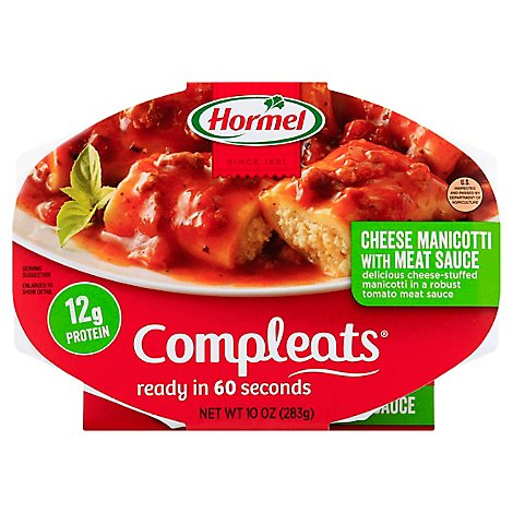 Hormel Compleats Microwave Meals Homestyle Cheese Manicotti with Meat Sauce - 10 Oz