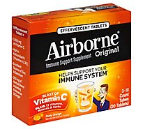 Airborne Immune Support Supplement Effervescent Tablets Zesty Orange - 3-10 Count