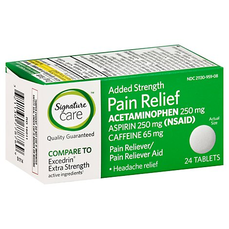 Signature Care Pain Relief Tablet Acetaminophen 250mg Added Strength - 24 Count