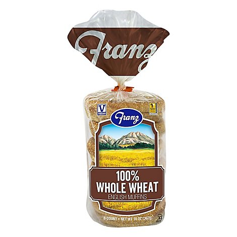 Franz English Muffins 100% Whole Wheat - 14 Oz