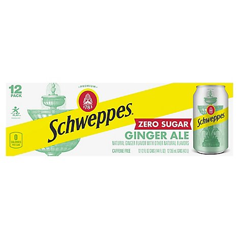 Schweppes Soda Ginger Ale Diet - 12-12 Fl. Oz.