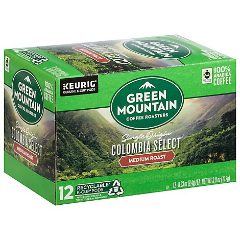 Green Mountain Coffee Keurig Hot Coffee K-Cup Pods Medium Roast Colombian Fair Trade - 12-0.33 Oz