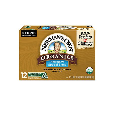 Newmans Own Organics Coffee Medium Roast Special Blend K-Cup Pods - 12-0.40 Oz