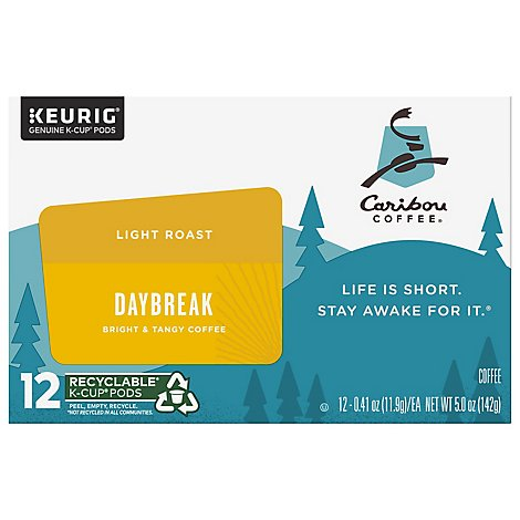 Caribou Coffee Coffee K-Cup Pods Light Roast Daybreak Morning Blend - 12-0.41 Oz