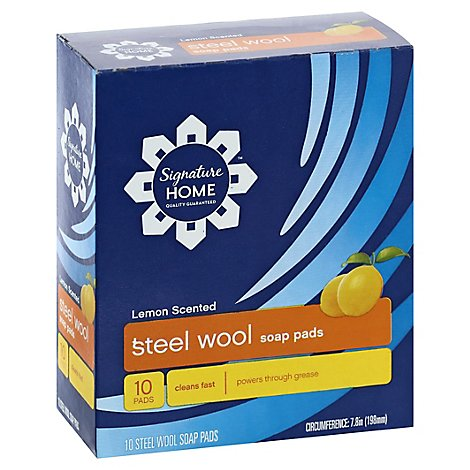 Signature SELECT Soap Pads Steel Wool Lemon Scented - 10 Count