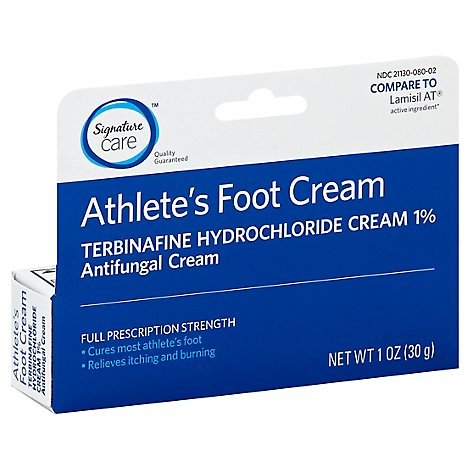 Signature Care Athletes Foot Cream Terbinafine Hydrochloride 1% Antifungal Full Strength - 1 Oz