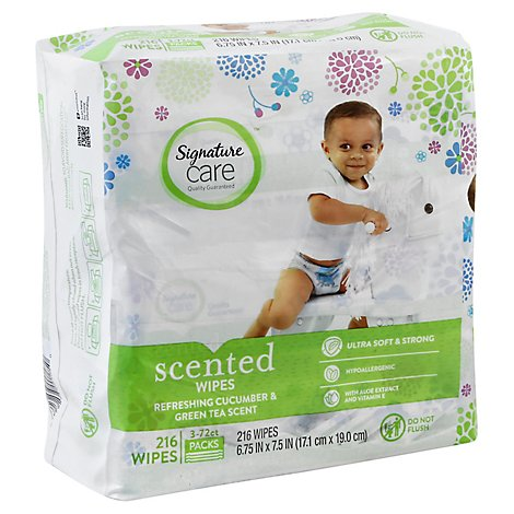 Signature Care Scented Wipes Cucumber & Green Tea Scent - 3-72 Count