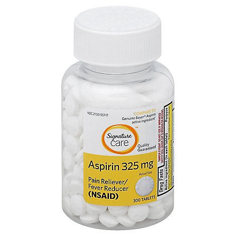 Signature Care Aspirin Pain Reliever Fever Reducer 325mg NSAID Tablet - 300 Count