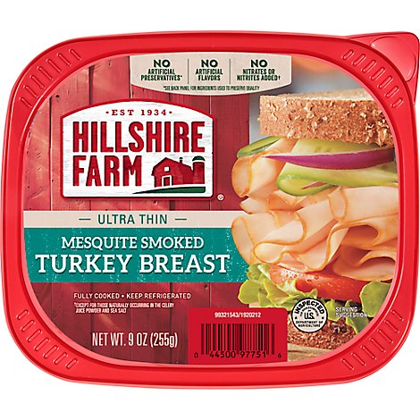 Hillshire Farm Ultra Thin Sliced Lunchmeat Mesquite Smoked Turkey Breast - 9 Oz