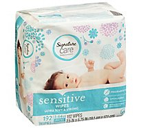 Signature Care Wipes Sensitive Ultra Soft & String Fragrance Free 3 Packs - 3-64 Count