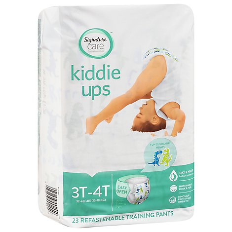 Signature Care/mom to mom Kiddie Ups Training Pants 3T-4T Dinosaur Prints - 23 Count
