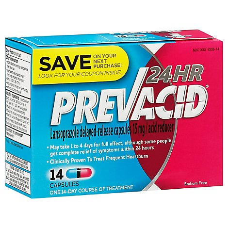 Prevacid Acid Reducer Capsules 24 Hour Lansoprazole Delayed-Release 15 mg - 14 Count