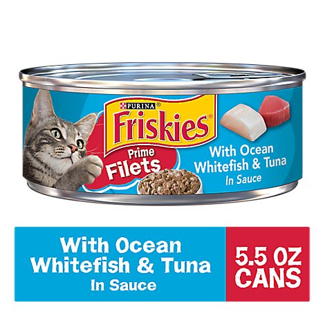 Friskies Cat Food Prime Filets With Ocean Whitefish & Tuna In Sauce Can - 5.5 Oz