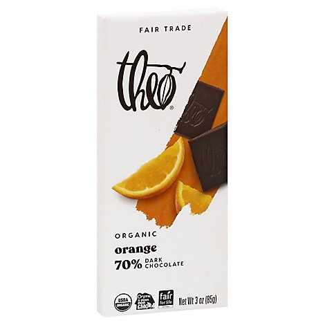 Theo Chocolate Organic 70% Dark Chocolate Orange - 3 Oz