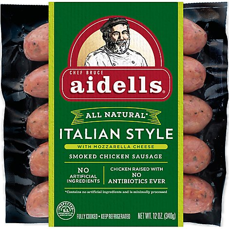 Aidells Smoked Chicken Sausage Italian Style with MOzzarella Cheese 12 Oz, 4 Fully Cooked Links