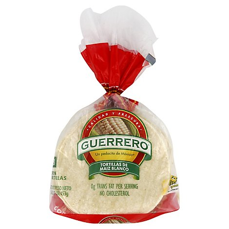 Guerrero Tortillas Corn White Maiz Blanco Bag 18 Count - 16 Oz