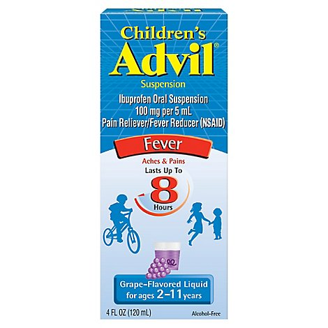 Childrens Advil Suspension Grape-Flavored Ibuprofen Fever Reducer/Pain Reliever- 4 Fl. Oz.