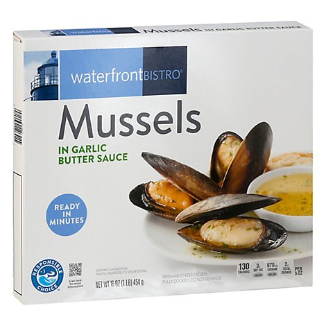 waterfront BISTRO Mussels Garlic Butter Sauce Fully Cooked Ready To Heat - 16 Oz
