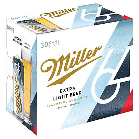 Miller64 Light Beer Lager 2.8% ABV Cans - 30-12 Fl. Oz.